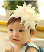 Wholesale Hot sale Chiffon flower children infant  hairband  Beige color  headband LF010