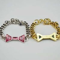 Free Shipping!  Wholesale vintage quality gold & silver bowknot link bracelet, retro, antique jewelry