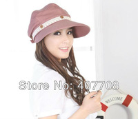 Free shipping! 2013 Fashion women sun hat two ways UV protection cap cotton summer hats wholesale HAT12