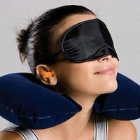 Free shipping.  travelling three pieces set air pillow eye pillow earplugs plane and car travel goods