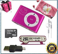 Mini Hello Kitty Clip MP3 Player with card slot support 1G-8G TF Card Freeshipping by China post(Not TNT) 10PCS/LOT