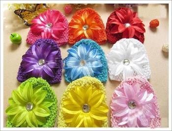20pcs Baby Hair Sets ( Crochet Knit Beanie + 5inch Lily Flower) Fashion Girl's Hair Accessory Cap