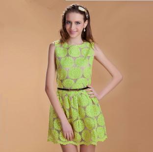High Fashion Embroidery Organza Lace Dress/ One-piece Princess Dress/ Vintage Sunflower Tank Dress
