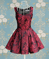 RED Attractive Fashion Style Rose Printed Ladies Evening Dress HOT Free Shipping Asian size  M L XL  BO