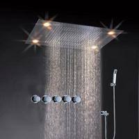shower kit ,led light shower head embeded ceiling big waterfall shower head mixer