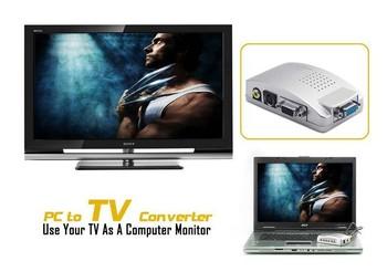 PC Composite AV/S Video To VGA TV Converter Signal Switch Adapter Box Conversion