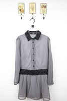 2012 autumn lace polka dot medium-long pullover single breasted chiffon shirt casual shirt dress