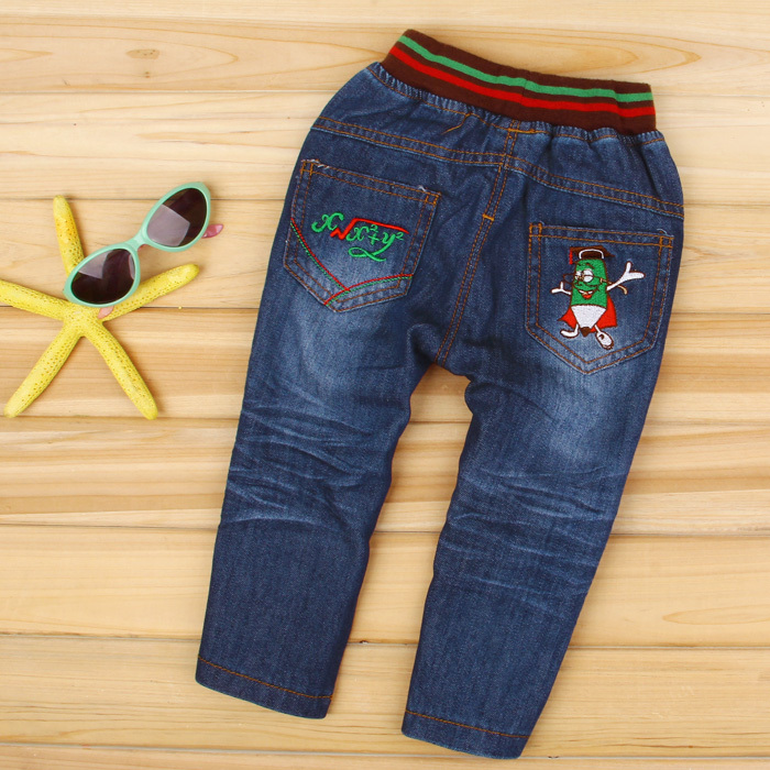 Denim bambi spring and autumn child clothing children's child jeans male female child baby trousers straight pants 8809(China (Mainland))