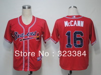 Free shipping can mix order baseball Jersey,Atlanta Braves #16 Mccann blue/white Cool Base jerseys,number and name embroidery