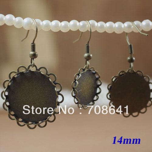 14 Antique Bronze Blank Tray Bases Earrings Stud Hook square shaped stylish crystal zinc alloy stud earrings black bronze pair