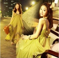 2013 JORYA chiffon skirt one-piece dress slim lace skirt beach dress bohemia dress full