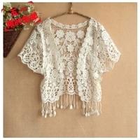 2012 short design knitted coat all-match cutout lace crochet cardigan small cape shrug shirt