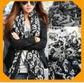 2013 new free shipping Christmas Gift Long Cool Big Skull Cotton Womens Black Scarf Shawl HOT(China (Mainland))