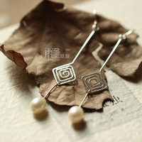 Handmade earrings 999 pure silver earrings freshwater pearl diy handmade original design