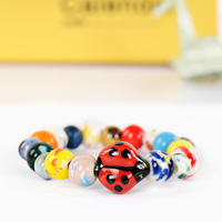 Jingdezhen ceramic accessories handmade ladyfly color block bead bracelet jewelry female fashion small fresh
