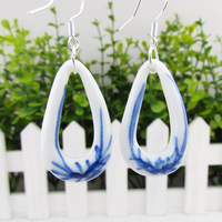 Ceramic accessories 925 pure silver earrings blue and white porcelain women's vintage double c pyroceramic pendant earrings