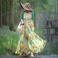New 2014 spring bohemia full dress spaghetti strap expansion ocean beach dress Free shipping