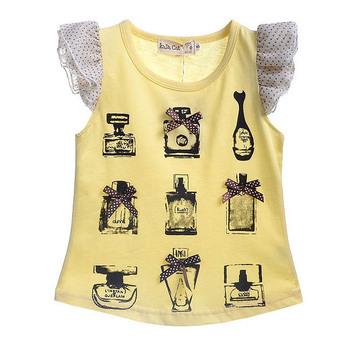 New arrivals free shipping girls Summer  clothing perfume bottle100% cotton short-sleeve T-shirt