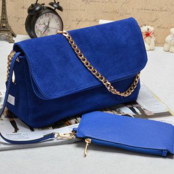 Free shipping hot sale Electric light blue boxing chamois one shoulder chain bag mali anna women's handbag