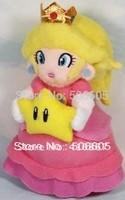 "free shipping 5pcs/lot Super Mario bros 8"" Princess Peach Embrace star mario plush toy doll"