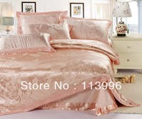 top quality lady satin silk tencel jacquard bedding set wedding comforter set king queen size duvet cover sheet set 4pcs