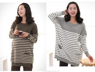 Maternity clothing autumn and winter fashion o-neck stripe maternity sweater maternity top(China (Mainland))