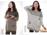 Maternity clothing autumn and winter fashion o-neck stripe maternity sweater maternity top