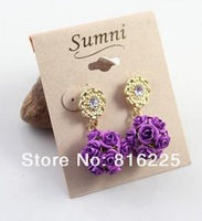FREE SHIPPING (min order $15 mixed is ok) fashion rose ball drop earring