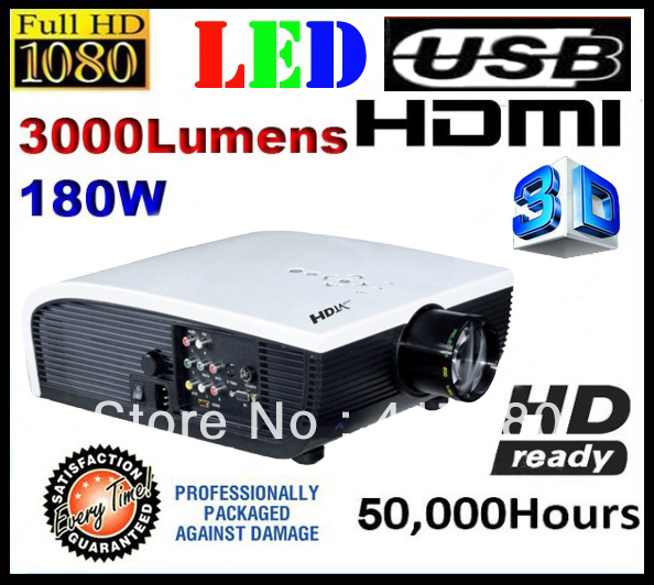 Free Shipping Full HD TV LED projector 3000 lumens 1024x600 home theatre system 3 HDMI ktv video projectors 1080p S800H(China (Mainland))
