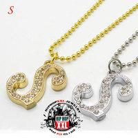 Letter s necklace pendant hip hop bling necklace lovers accessories