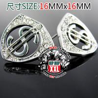 Dollar shield hip hop bling hiphop earring stud earring 16 16mm