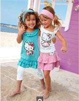 Free shipping New Summer Girl hello kitty Baby Casual Beach 3pcs sets (shirt + pants + headband)