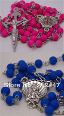 New BEAD CROSS Catholic Rosary Prayer Mixed Beads Crucifix Chain Necklace(China (Mainland))