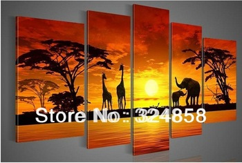 Free shipping 100% Hand painted sun woods The giraffe elephant ecorative landscape Wall art home decor Oil Painting on canvas