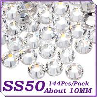 10MM SS45 Color 144pcs Crystal Clear Big Flatback Stones (Non Hotfix) Rhinestones