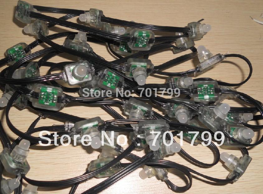 Dc12v ws2811 puce, full color led puce pixel noeud, une chaîne 100 pcs, avec tous les câble noir; type de moulage par injection