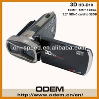 Free shipping by EMS/UPS/DHL/Fedex,Wholesale - 3D full HD Camcorder HD-D10  Video Camera,16MP Dual CMOS ,3.2 inch 3D TFT LCD