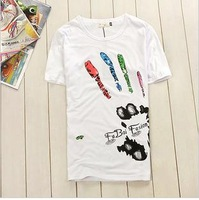 Men's clothing new arrival 2013 T-shirt 100% trend short-sleeve cotton t-shirt male t-shirt short-sleeve non-mainstream