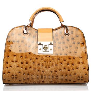 Oppo bags 9760 - 3 fashion ostrich grain fashion japanned leather handbag cross-body women's handbag 2013 free shipping