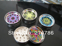 Free shipping 6pcs/lot (dia 5.3cm) 2-layer luminous Metal herb grinder Tobacco Grinder Machine manual Gift Promotion GR040