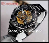 Wholesale - free shipping Authentic IK double-sided hollow-out automatic mechanical watch hot personality men's watch