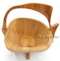 Bamboo Folding Fruit Veg Basket, Foldable Fruit Veg Bowl Basket Fish Design