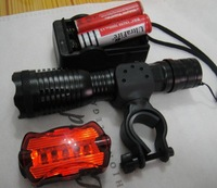 Wholesale12W 2000Lm 5 Mode Zoomable CREE XM-L T6 LED Flashlight Torch Bike Bicycle Rear Light AAA/18650 Lamp Free Shipping