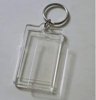 "100pcs Blank Acrylic Rectangle Photo Keychains Insert  Picture & Logo  Keyrings (Key tag) 2""x 1.25"" -Free Shipping"