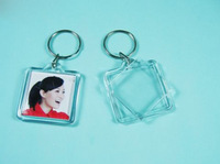 "100pcs Bigger Blank Acrylic Square Photo Keychains Insert  Picture &Logo  Keyrings (Key tag) 1.5""x 1.5"" -Free Shipping"