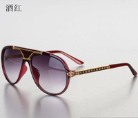 wine red High-end craft carving frame Unisex Fashion Sunglasses gradient anti-UV sunglasses glasses free shipping