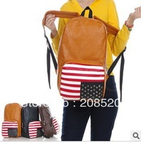 AD058 free shipping American National flag vintage bag casual backpack all-match fashion student PU backpack/bookbag 4colors