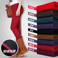 Plus size elastic boot cut jeans plus cotton thickening jeans mid waist skinny pants pencil pants plus velvet multicolour 801