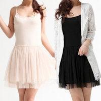 2013 spring and summer spaghetti strap basic ultra-short vest one-piece dress modal black tulle dress