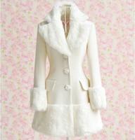 2015 autumn noble fur collar long overcoat slim women's white winter coat